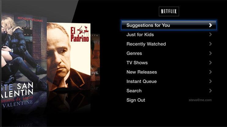 Skärmdump: Netflix på Apple TV