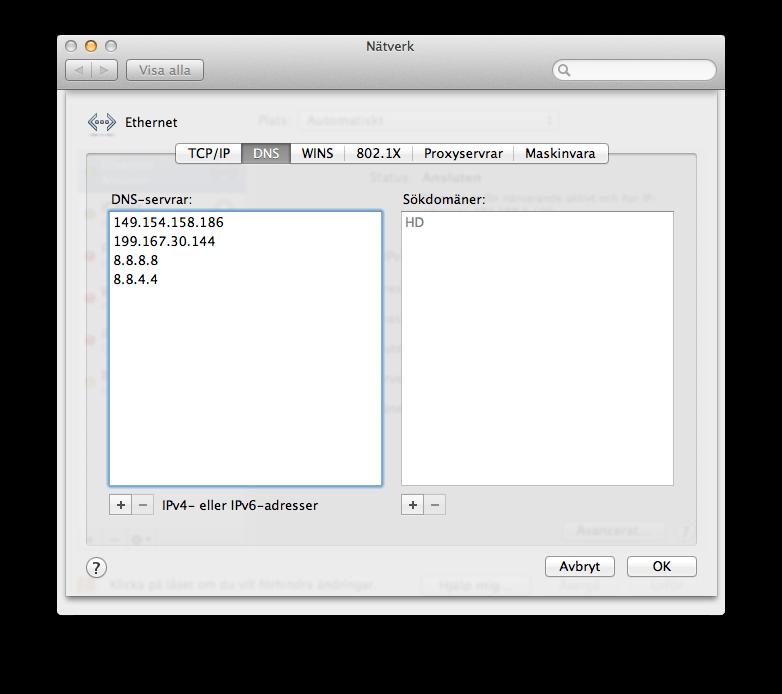 Skärmdump från OS X