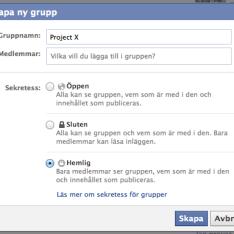 Facebook - Hemlig Grupp