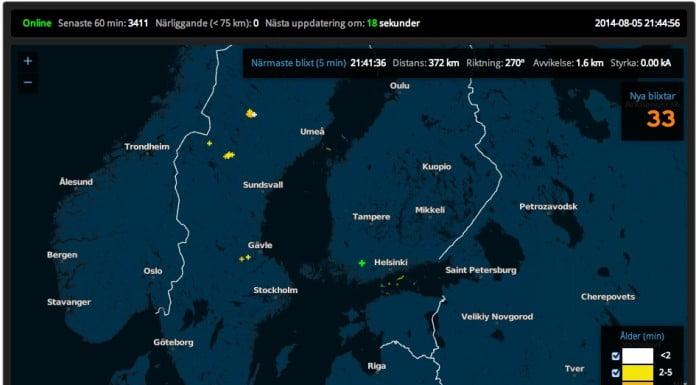blixtnedslag - Från nordicweather.net